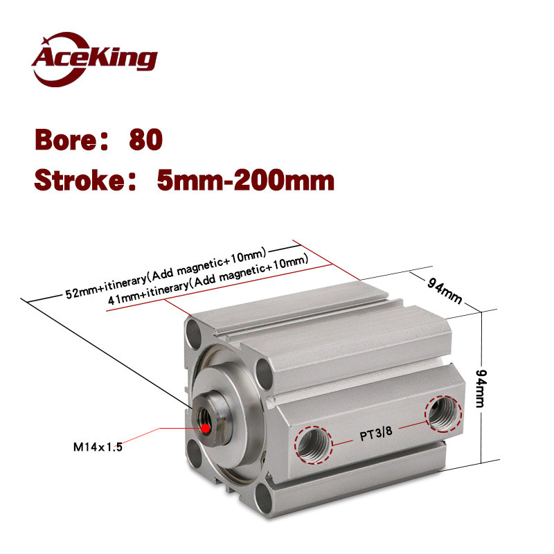 Type AirTAC pneumatic components SDA SDA80x5x10x15x20x25x30x35x40x45x50 - SB thin cylinder piston push rod of the magnetic