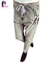 Pantalon femme 2016 Autumn Pants Women Hot Fashion Womans Pencil Pant Leggings Large Zipper Decoration Gray Trousers Female