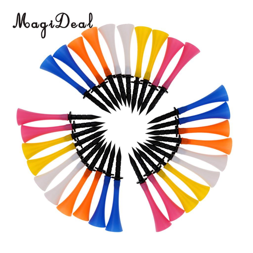 MagiDeal 30 Pieces Mixed Color 83mm/3.3inch Rubber Golf Tees Golfer Training Tool