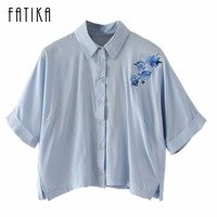 FATIKA 2017 Women Flower Embroidery Tops And Blouses Batwing Half Sleeve Fashion Summer Blouse Shirts For