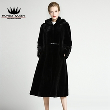 Честный Королева 2017 Натурального меха женщин меховой Моды пальто с норки шуба натуральный мех норки пальто Толстые Теплые Капюшоном Воротник мода
