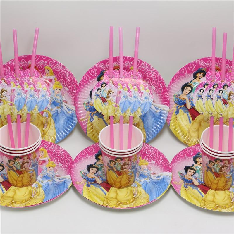 24 unids/lote plato de papel taza de paja princesa de dibujos animados chica fav