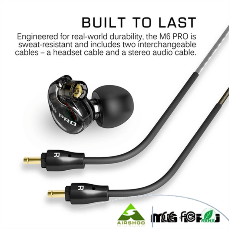 Black / White M6 PRO Universal 3.5mm Wired In-ear Earphone Noise -Isolating Musician Monitors Brand New Earbus  dhl free 2pcs black white m6 pro universal 3 5mm wired in ear earphone noise isolating musician monitors brand new headphones