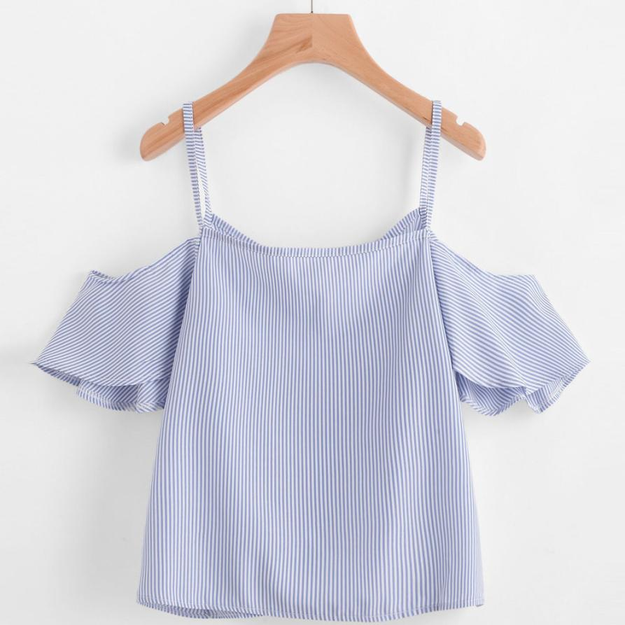 2019 Mode Frau Top Sommer Bluse Kurzarm Schulterfrei Striped Shirt Camisas Feminina Kleidung Mädchen Dame Crop Top #815 Heller Glanz