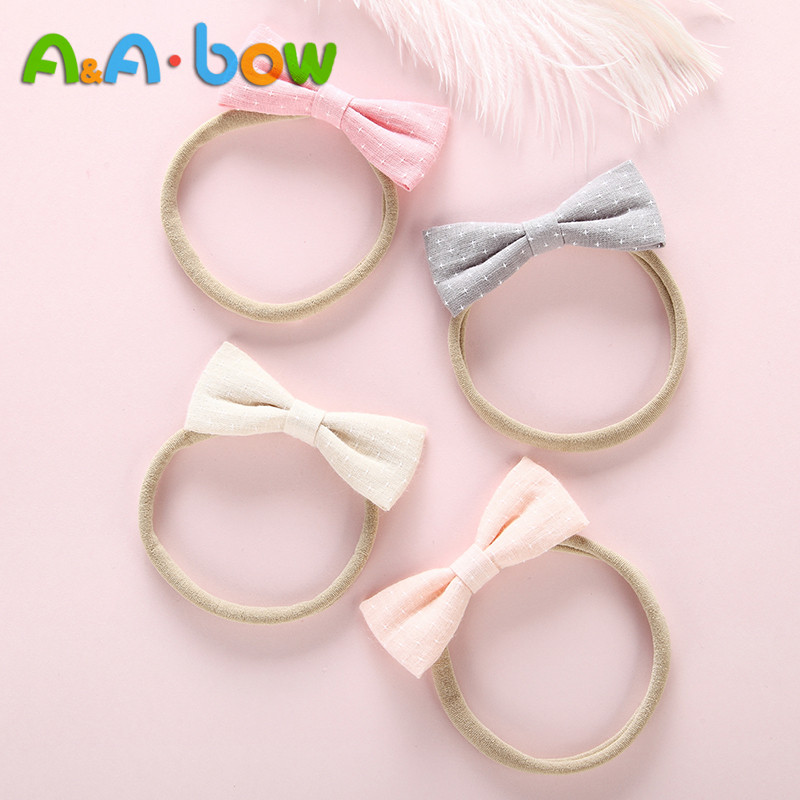 6PCS/lot Print Dot Cotton Bow Nylon Headband For Baby Girls Hair Band Stretch Headbands Cute Headwear Hair Accessories Head Wrap
