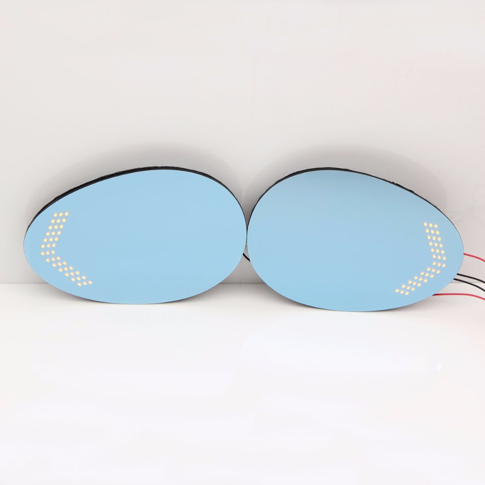 Blue Mirror Car Side View Mirrors Glare Proof Mirror Turn Signal Lamp Heated For MINI Cooper ONE R55 R56 2007 13 / Clubman 07 16