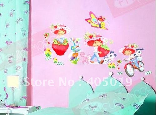 50x70cm HL5620 Strawberry Shortcake Wall Sticker Berry Cool Cartoon Cling Vinyl Room Paper Daycare Decor Free Shipping Mixable-in Wall Stickers from Home ... & 50x70cm HL5620 Strawberry Shortcake Wall Sticker Berry Cool Cartoon ...