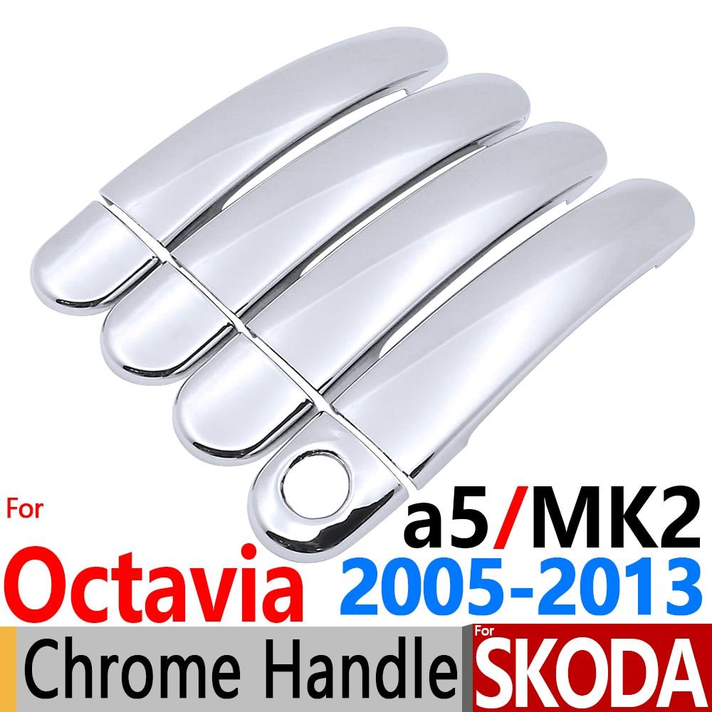 For skoda octavia a5 chrome door handle trim of 4 door for octavia 2005 2013