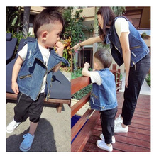 Cowboy Vest Children Boy Baby Coat Children 1-Three-5 Years Old Baby Mother and Son Clothes Spring colete menino waistcoat