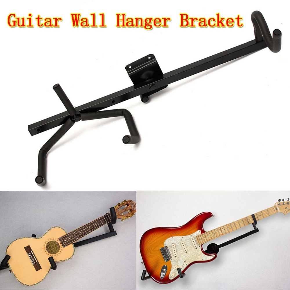 Horizontal Guitar Wall Hanger Bracket Holder For Electric Acoustic Bass Guitar Ukulele 2pcs guitar piano bass guitar hook violin ukulele electric guitar stand long arm wall hanger hook holder pa094