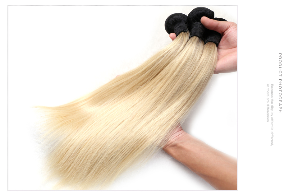 Facebeauty 1B/613 Honey Blonde Brazilian Straight Remy Human Hair 3 Bundles with Lace Closure,Blonde Ombre Bundles with Closure