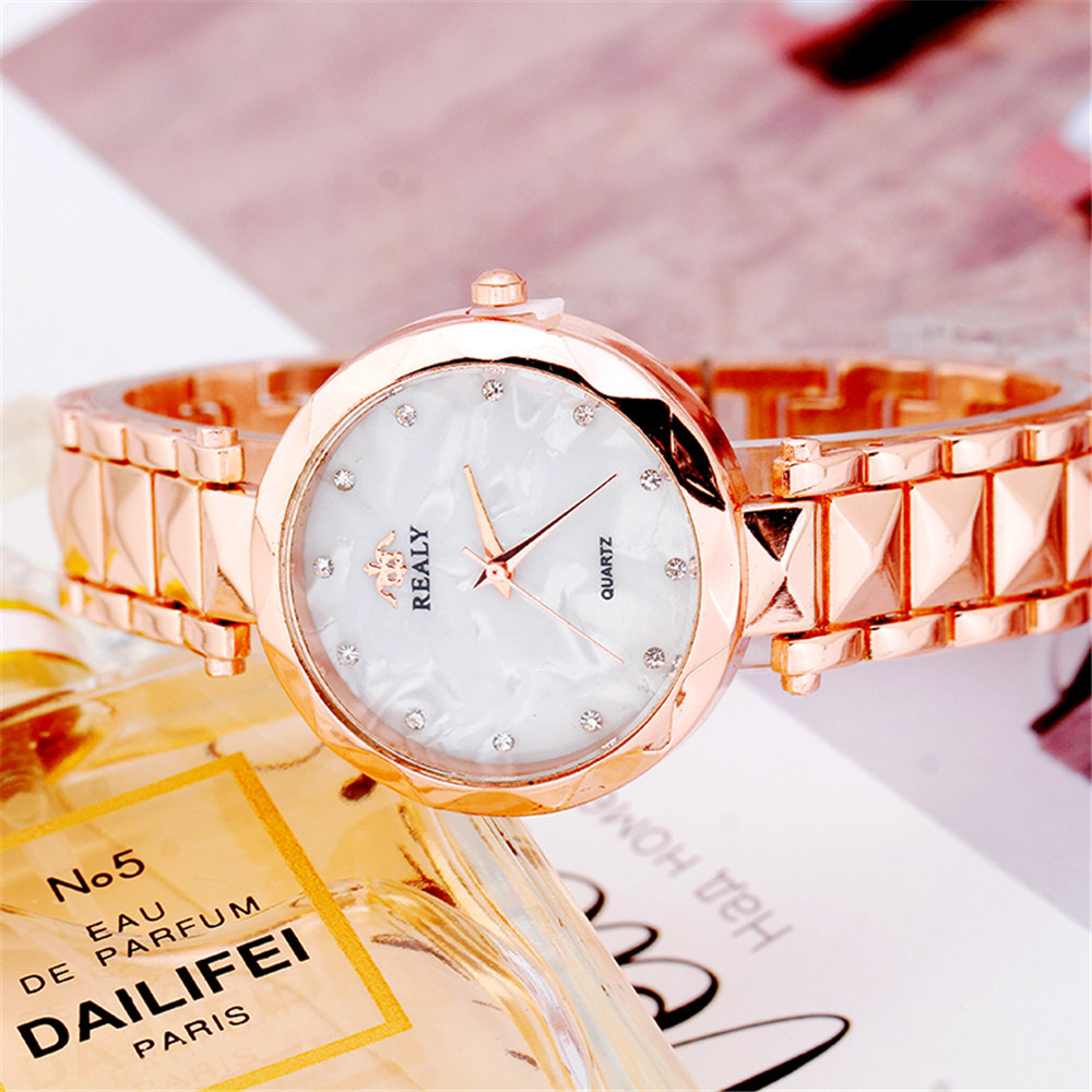 Hot Fashion Stainless Steel Women Rhinestone Wristwatches Mother Of Pearl Dial Watch Luxury Quartz Watch Relogio Feminino &Ff