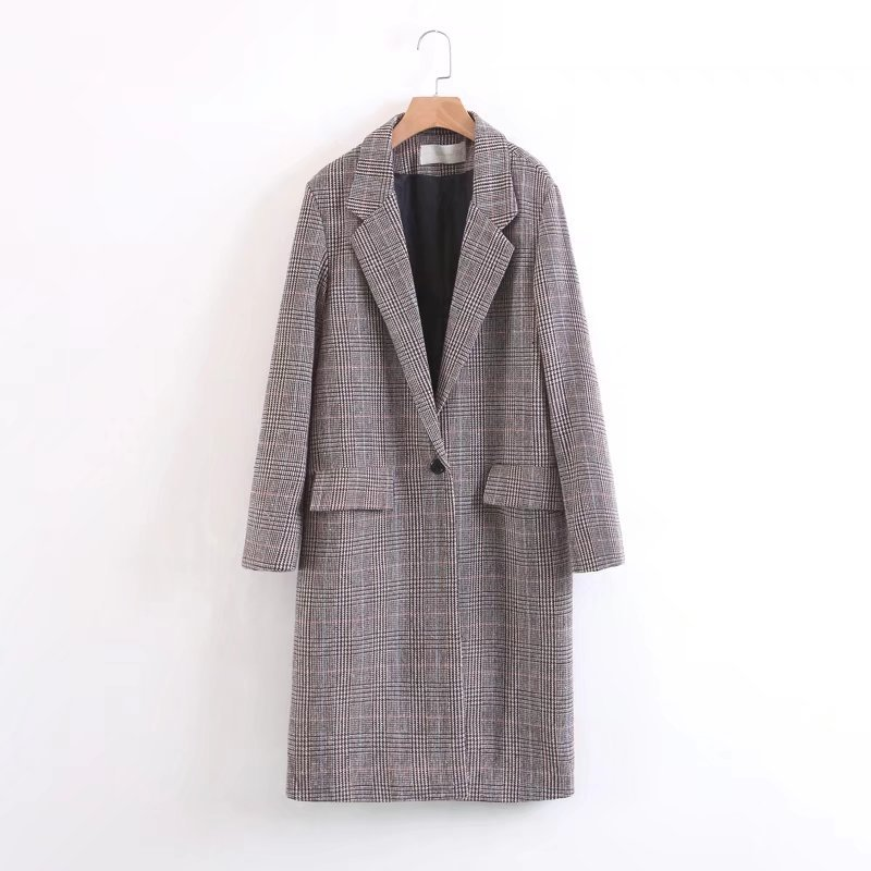 2017 Winter new Elegant Women Plaid Striped tweed coat Lady Office ...