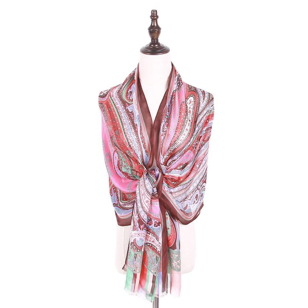 92920f3d5160 Jzhifiyer YX112 soie écharpe châles en soie imprimée vintage paisley  élégant georgette très doux soie écharpes mujer sarong paréo d
