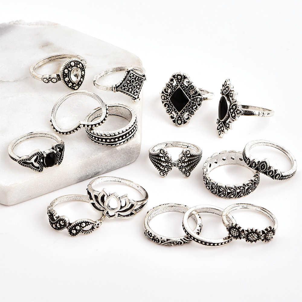 15 ピース/セットボヘミアンレトロクリスタルフラワー葉中空蓮宝石シルバーリングセット女性の結婚記念日ギフト