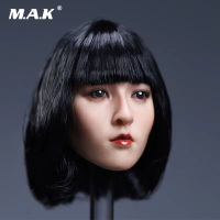 1/6 Scale Asia Beautiful Female Yun Head Sculpt Model with Long/Short Black Hair for Fit PHICEN Suntan Woman Body