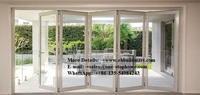 Decorative grill design aluminium glass folding doors exterior,barn door,hardware,sliding door,soundproof bi fold interior door