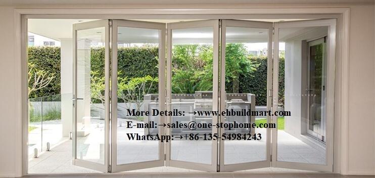 Portes pliantes en verre en aluminium de conception décorative de gril extérieur, porte de grange, matériel, porte coulissante, porte intérieure insonorisée de bi pli