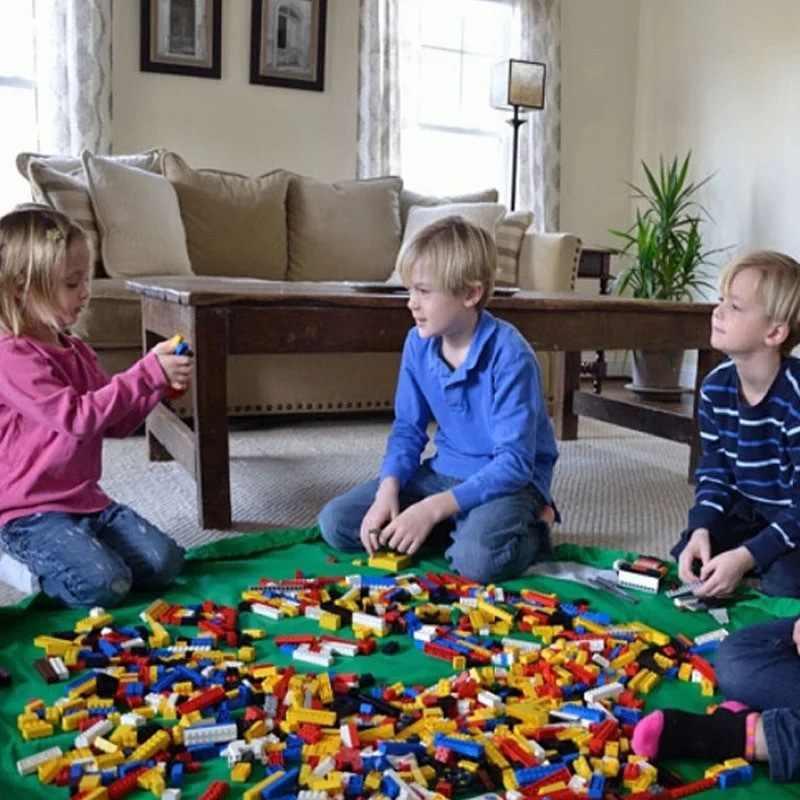 1.5メートル子供プレイマットおもちゃ収納袋特大クリーンアップオーガナイザー再生マット耐久性のあるレゴのおもちゃ収納袋屋外の建物ブロックミリアンペア