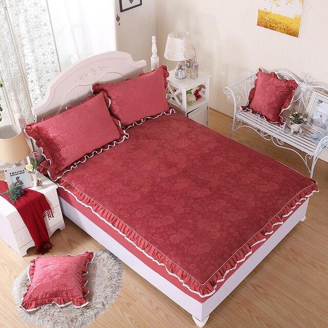 Roter Bohnenpaste Kristall Samt Heimtextilien Bettwäsche 3 Stücke