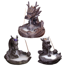 F Ceramic Dragon Incense Burners Smoke Backflow Holders Home Decoration Furnishing Articles or Incenses Cones Buddha Supplies