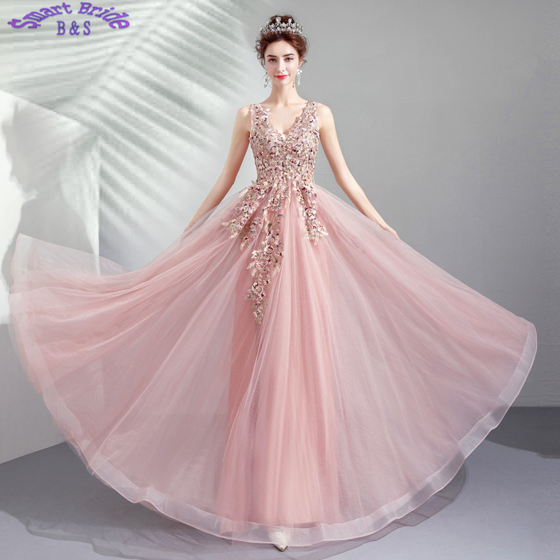 Beaded   Evening     Dresses   A-line V Neck Tulle Applique Pearls Lace Up Women Birthday Party 2019 In Stock LY80
