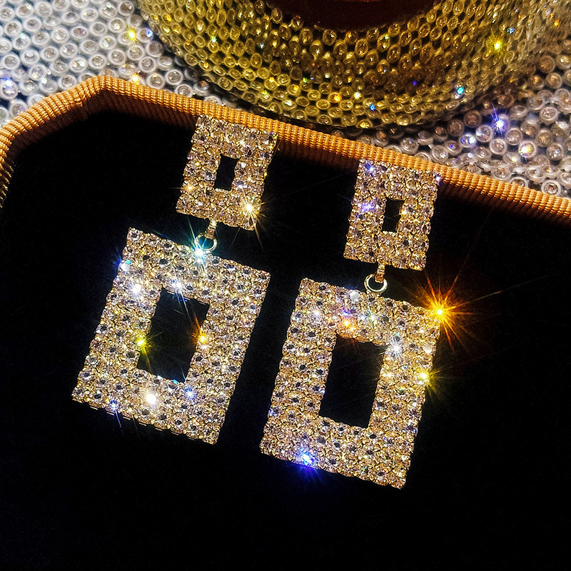 RscvonM Luxury Shining Crystal Drop Earrings Gold Silver Color Square Rhinestone Dangle Earrings For Women Wedding Party Jewelry