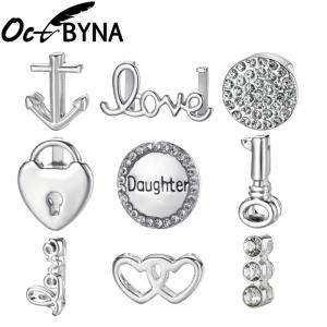 Octbyna Charm Bangle Bracelet-Making Jewelry Slide-Beads Stainless-Steel Silver-Color