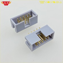 DC3-10P GREY WHITE 10PIN IDC SOCKET BOX 2.54mm PITCH HEADER STRAIGHT CONNECTOR CONTACT PART OF THE GOLD-PLATED 3Au YANNIU