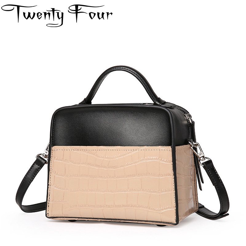 Twenty-four Genuine Leather Women Handbags With Alligator Shoulder Handle Box Bag Small Square Flap Young Ladies Cross Body Bags twenty four women brand flap bags natural genuine leather handbags with chain solid color cover small bags young cross body bags