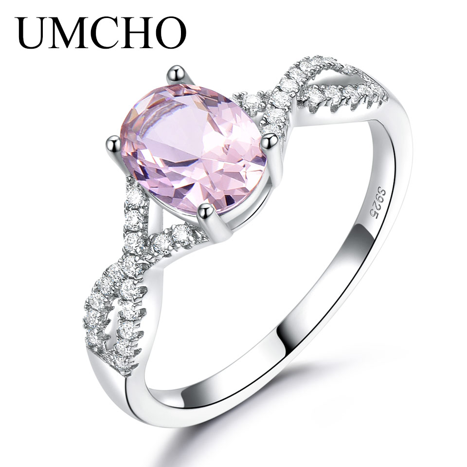 UMCHO Solid 925 Sterling Silver Ring For Lady Oval Pink Nano Morganite Wedding Engagement Ring Bridal Anniversary Gift For Her