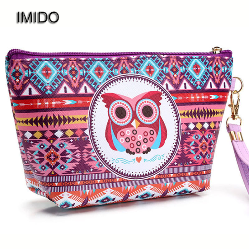 IMIDO Owl Printing Fashion Women cosmetic bag organizer makeup bags for Ladies Travel toiletry Storage wash Bags Clutch XLY030