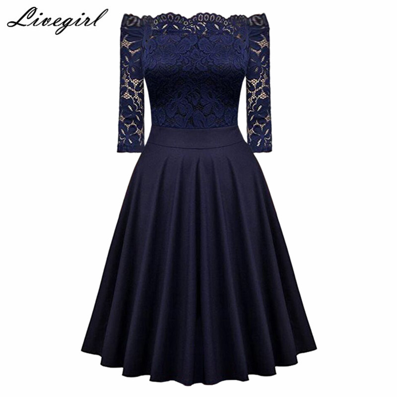 Women Dress Robe Sexy Vintage Floral Lace Off Shoulder Dress Half Sleeve 1950s  60s Retro Rockabilly 8e8b04db9b06