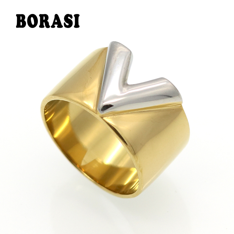 BORASI Fashion Luxury Famous Brand Jewelry Men / Women Ring Gold Double Color V Ring Titanium Steel High Polished Love Rings