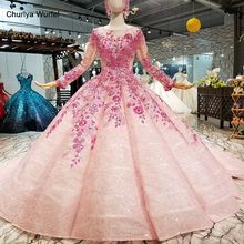 LS66880 muslim colorful cheap evening dress long sleeves o-neck pink flowers ball gown beauty girls pageant with headwear