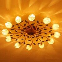 בסגנון אמריקאי אורות סלון תקרת מנורת מעבר פרחים כפריים אווירה מודרנית בית סגנון Led אורות תקרת Luminaire