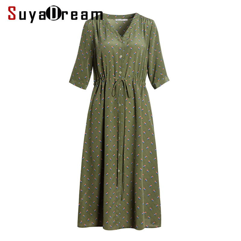 Women Silk Dress 100 Real Silk Crepe Printed Belted Dresses for Women V Neck Empire Dress