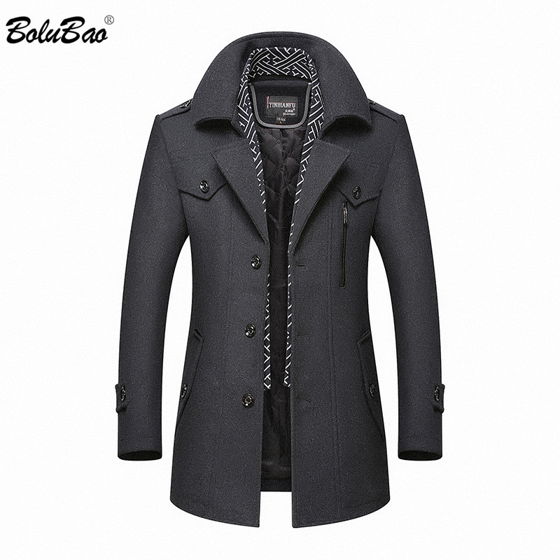 BOLUBAO Brand Men's Warm Wool Blends Coat Autumn Winter New Male Fashion Casual Wool Outerwear Men High Quality Wool Coat