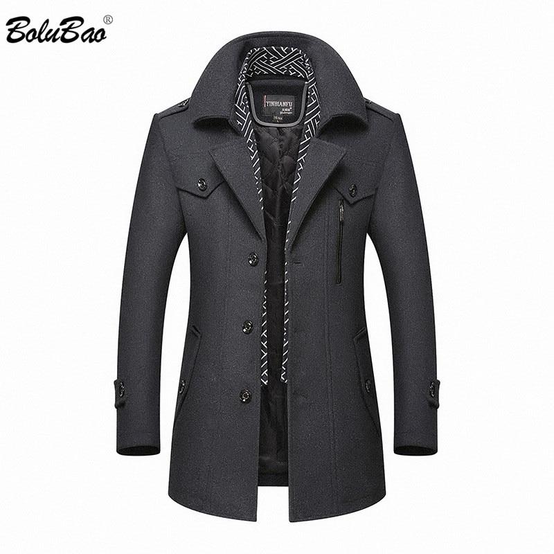 BOLUBAO Brand Men's Warm Wool Blends Coat Autumn Winter New Male Fashion Casual Wool Outerwear Men High Quality Wool Coat
