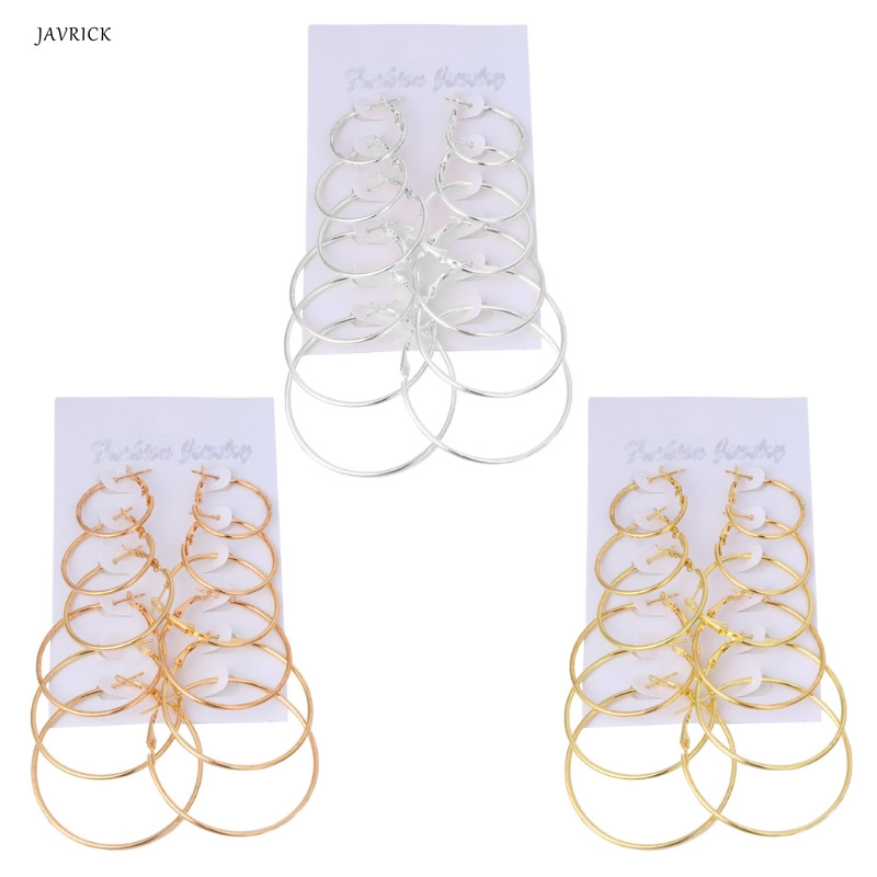 JAVRICK 6Pairs/set Gold Silver Vintage Dangle Ring Big Circle Earrings Women Jewelry Steampunk Hoop Earrings Ear Cilp NEW