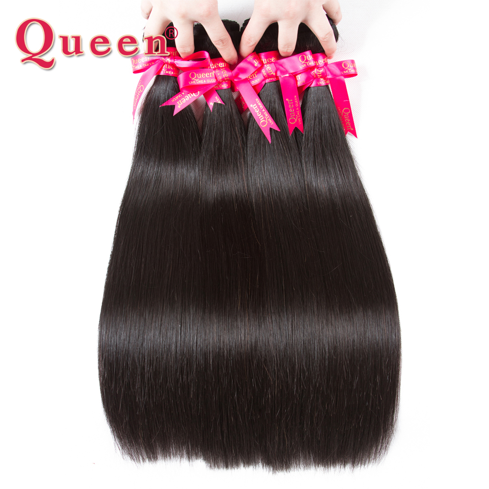 Queen hajápoló termékek Perui egyenes hajcsomagolások 100% Remy emberi hajszövésbővítők 1/3/4 kötegek zárással