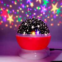 Novedad LED giratorio proyector estrella iluminación Luna cielo estrellado niños bebé noche Luz de sueño batería de emergencia lámpara de proyección