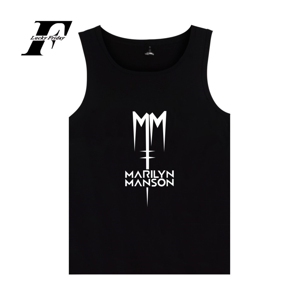 Rock Band Marilyn Manson Summer Vest   Tank     Top   Mens Bodybuilding And Plus Size Industrial Metal Music Marilyn Manson   Tank     Tops