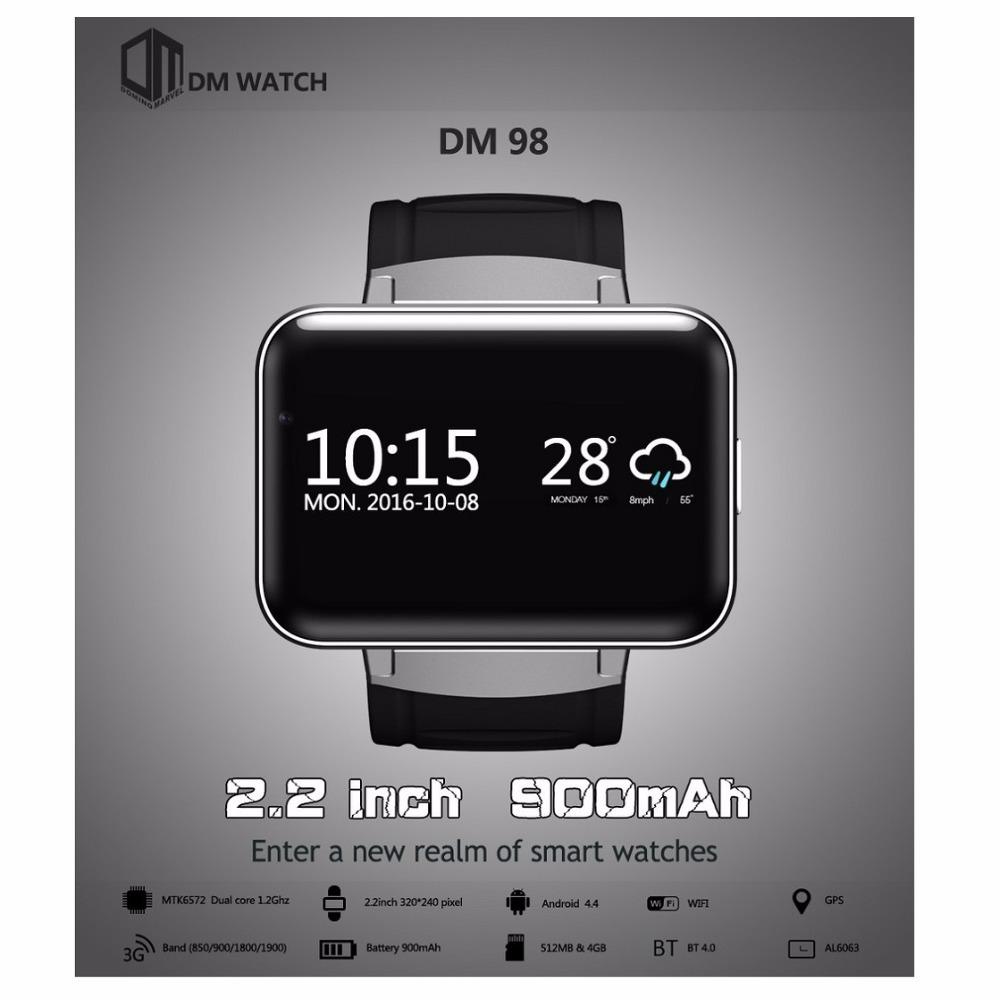 Prix pour D'origine DOMINO DM98 2.2 pouce Android 4.4 3G Smartwatch Téléphone MTK6572 Dual Core 1.2 GHz 4 GB ROM Caméra Bluetooth GPS Intelligent montre