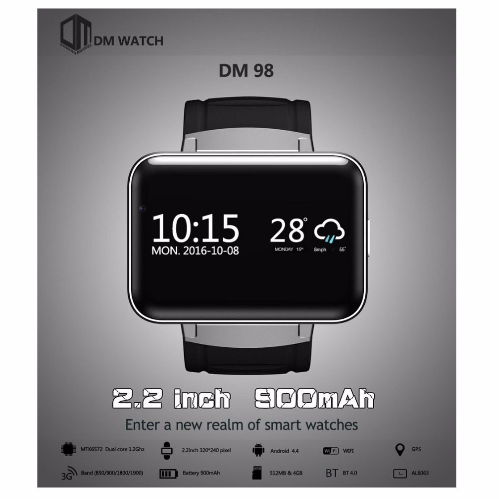 Original DOMINÓ DM98 2.2 pulgadas Android 4.4 3G Teléfono Smartwatch MTK6572 Dua