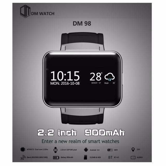 3dcca4e43 Original DOMINÓ DM98 2.2 pulgadas Android 4.4 3G Teléfono Smartwatch  MTK6572 Dual Core 1.2 GHz 4. Sitúa el cursor encima para hacer zoom