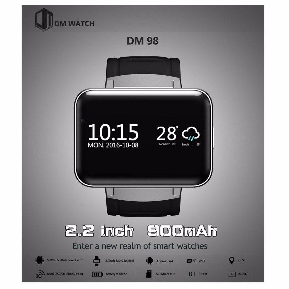 imágenes para Original DOMINÓ DM98 2.2 pulgadas Android 4.4 3G Teléfono Smartwatch MTK6572 Dual Core 1.2 GHz 4 GB ROM Cámara Bluetooth GPS Inteligente reloj