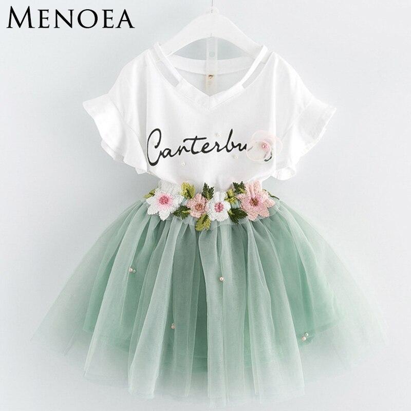 Menoea Girls Clothing Sets 2017 New Summer Style Kids Lettern Pattern Floral T-shirt and Flower Short Dress 2pc Children Suits стоимость