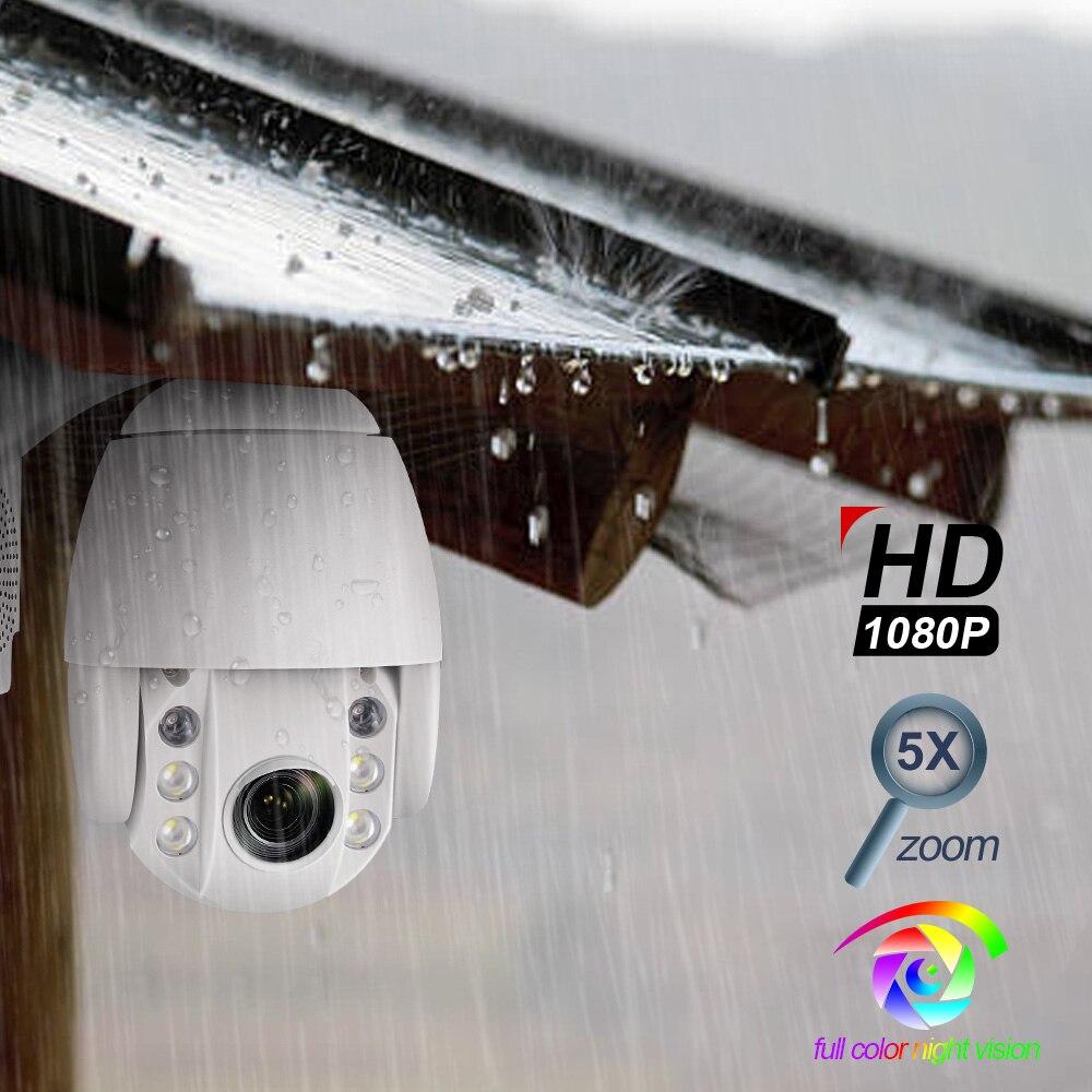 Super Mini Speed Dome PTZ Câmera IP WIFI 1080 P 2MP 5x Zoom Óptico Sem Fio Da Câmera Ao Ar Livre IR ONVIF Dois áudio bidirecional Falar
