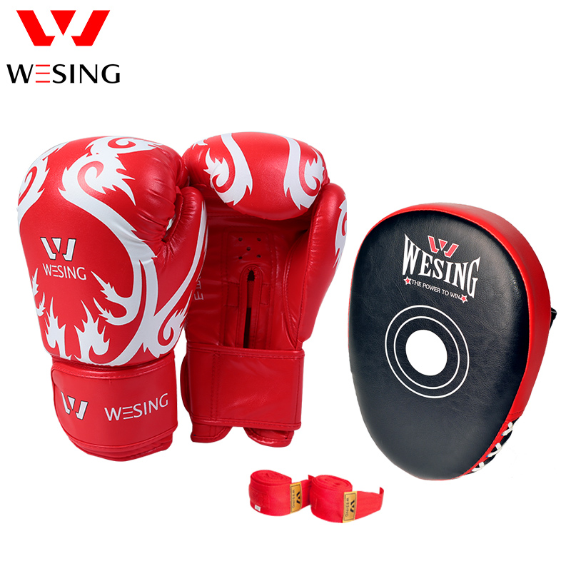 wesing boxing gloves training equipment set punch pad handwrap focus training boxing gym set FOR MMA KICK BOXING SANDA wesing aiba approved boxing gloves 12oz competition mma training muay thai kickboxing sanda boxer gloves red blue